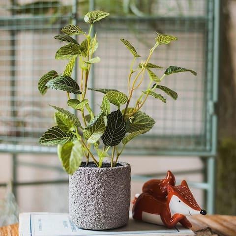 RusticReach Artificial Bonsai Reticulate Leaf Potted Plant - Green