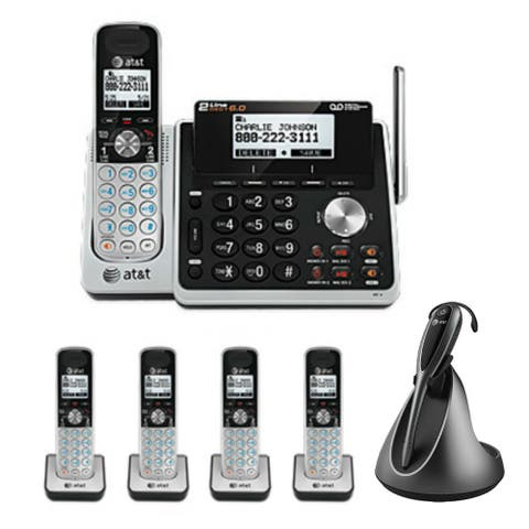 AT&T TL88102 Office Bundle with Free Headset 5 Handset Cordless Bundle(2 Line)