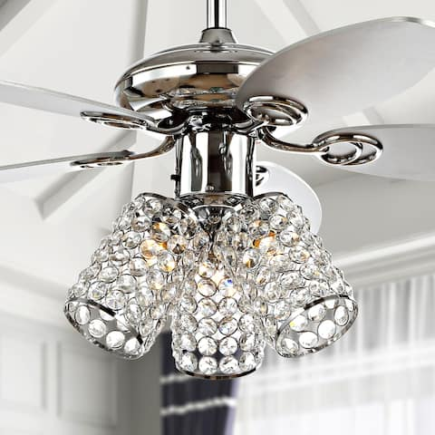 """Kris 42"""" 3-Light Crystal LED Ceiling Fan With Remote, by JONATHAN Y"""