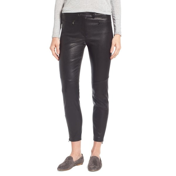 635d08975f5 Shop Nordstrom Signature Black Women 16 Stretch Leather Biker Pants ...