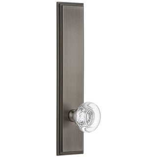 """Grandeur CARBOR_TP_PSG_238  Carre Solid Brass Tall Plate Rose Passage Door Knob Set with Bordeaux Crystal Knob and 2-3/8"""""""