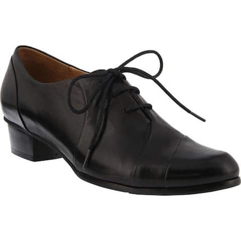 Spring Step Women's Elvera Oxford Black Glove Leather