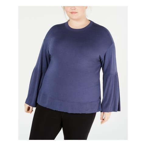 CALVIN KLEIN Womens Blue Bell Sleeve Crew Neck Top Size 3X