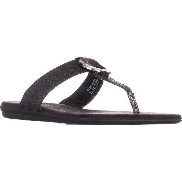 Aerosoles Supper Chlub Thong T-Strap Flat Sandals, Black Snake