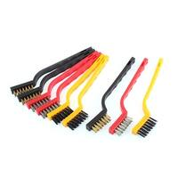 Unique Bargains 9Pcs Plastic Handle Stainless Steel Nylon Bristle Scratch Brushes