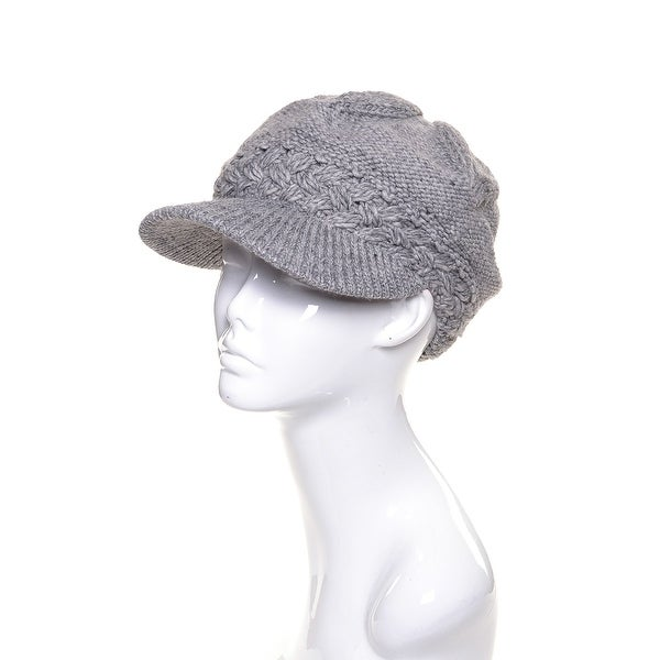 Womens Wool Metallic Beanie Visor Lined