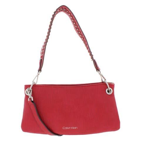 Calvin Klein Womens Raya Demi Handbag Faux Leather Convertible - Small