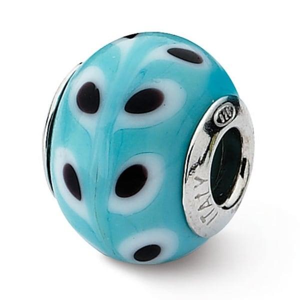 Italian Sterling Silver Reflections Lt. Blue/White/Black Bead (4mm Diameter Hole)