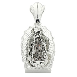 0.5ctw Diamond Lady of Gualalope Pendant Sterling Silver 59mm Tall Brown and Black Diamonds