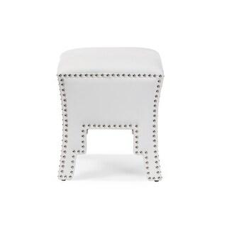 Baxton Studio Bouverie Modern and Contemporary White Faux Leather Nail head Ottoman Stool