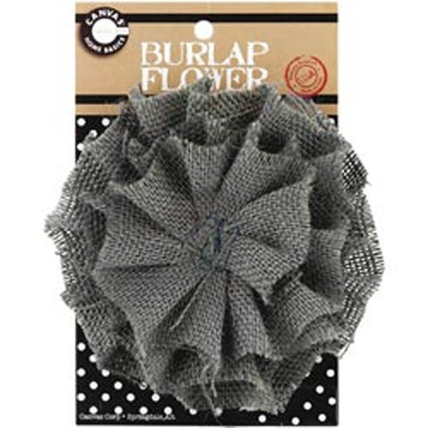 """Grey - Burlap Flower 4.5"""""""