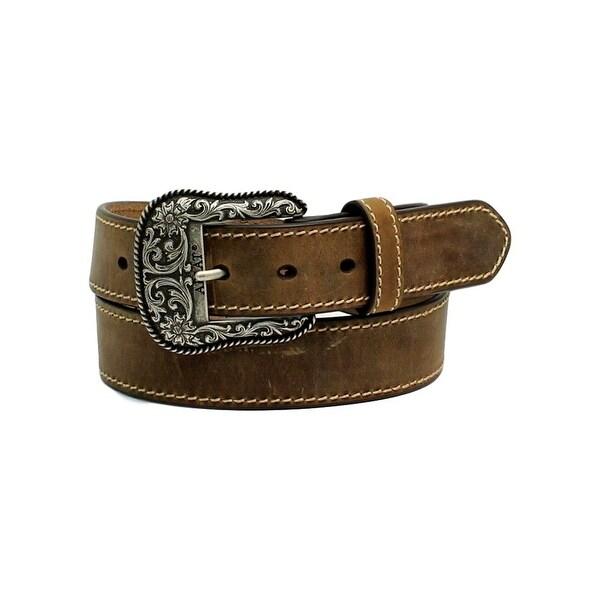 Ariat Western Belt Women Heavy Contrast Stitched Scroll Brown
