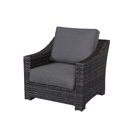 Bora Bora Outdoor Patio Club Chair with Charcoal Grey Olefin Cushions