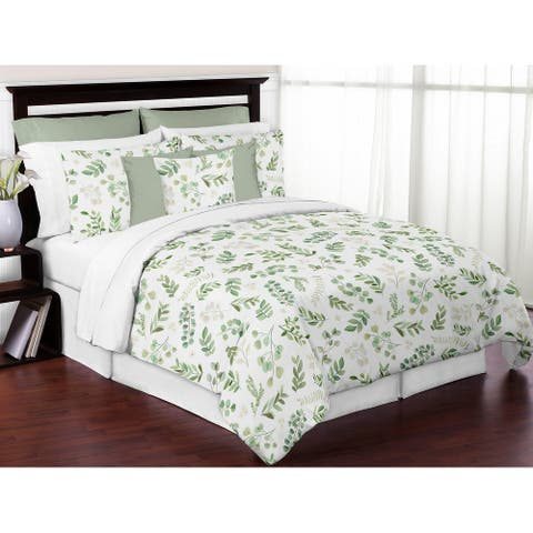 Floral Leaf Collection Girl 3pc Full / Queen-size Comforter Set - Green White Boho Watercolor Botanical Woodland Tropical Garden