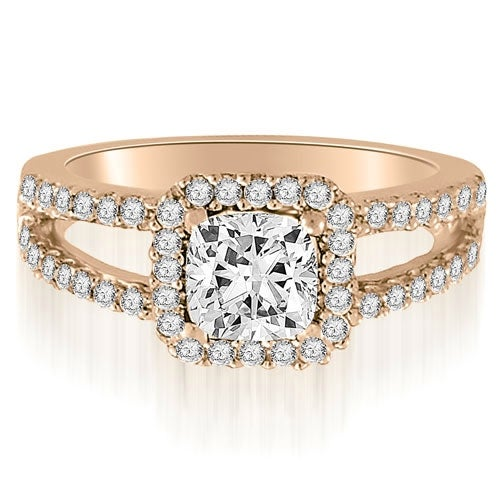 1.44 cttw. 14K Rose Gold Princess And Round Cut Diamond Engagement Ring