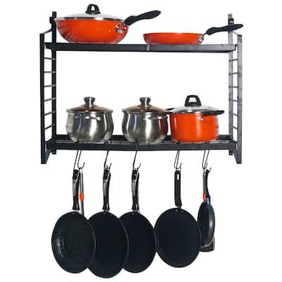 Kitchen Storage 2-Tiered Wall Mounted Pot Rack