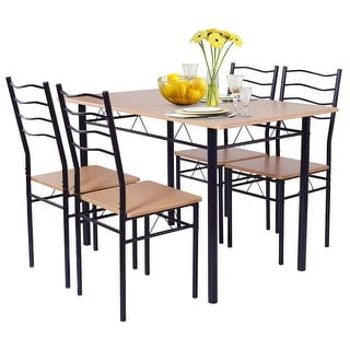 Link to Costway 5 Piece Dining Table Set with 4 Chairs Wood Metal Kitchen Similar Items in Dining Room & Bar Furniture