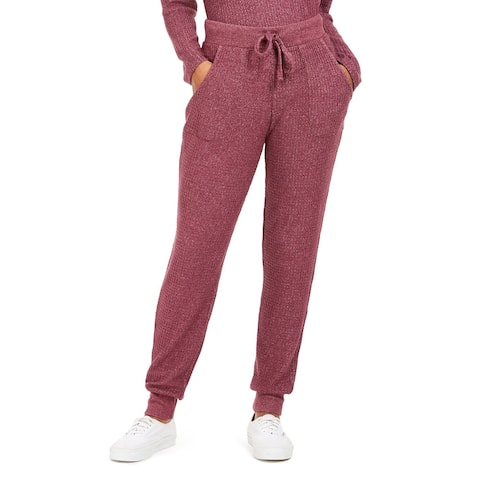 Hippie Rose Juniors' Cozy Waffle Jogger Pants Med Purple Size Extra Small - X-Small