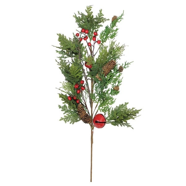 """28"""" Bells, Berries and Pine Cone Christmas Spray - green"""