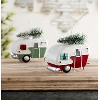 """Club Pack of 12 Vibrantly Colored Camper Vans with Tree Christmas Ornaments 3.5"""" - WHITE"""