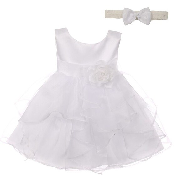 Good Girl Baby Girls White Satin Organza Sleeveless Flower Girl Dress
