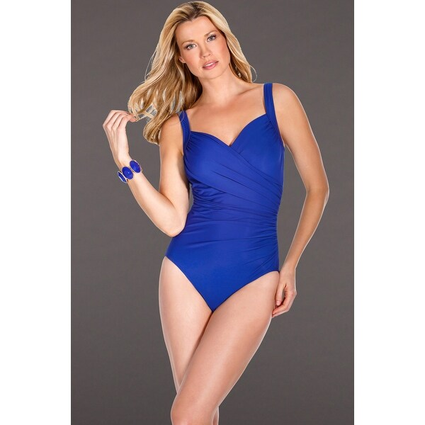 6d95018ab93c7 Shop Miraclesuit Blue Sanibel Underwire One Piece Swimsuit - Free Shipping  Today - Overstock - 17761547