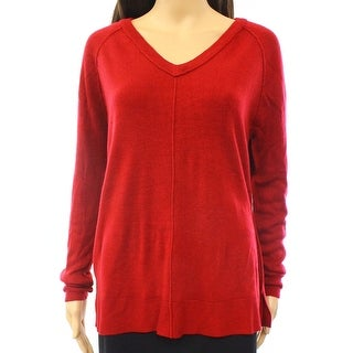 Sweet Romeo NEW Red Women's Size XL Ribbed Knit High Low V-Neck Sweater
