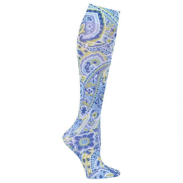 Celeste Stein Women's Mild Compression Knee High Stockings - Blue Mosaic Paisley