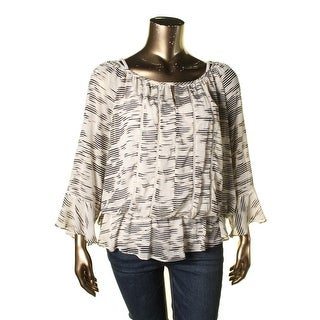 Vince Camuto Womens Plus Peasant Top Ruffled Semi Sheer