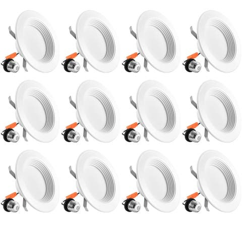 Luxrite 4 Inch Dimmable LED Recessed Lights, 10W (60W Equivalent), 700 Lumens, Baffle Trim, IC & Damp Rated (12 Pack)