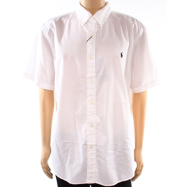 Ralph Size Twill Button Shirt Mens Slim White Down Polo Lauren 2xl 7yfgb6