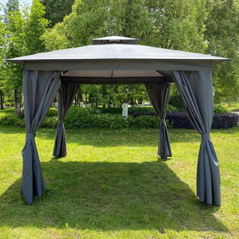 10x10 Ft Outdoor Patio Garden Gazebo Tent, Outdoor Shading, Gazebo Canopy with Curtains, Beige/Grey