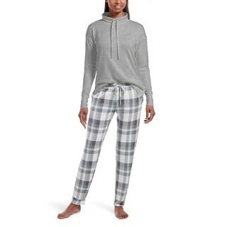 Hue Sleepwear Women's Cloudy Plaid Jersey Pajama Set With Pockets