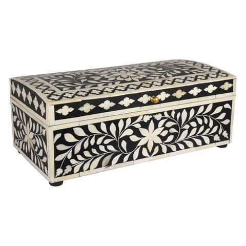 "GAURI KOHLI Jodhpur Bone Inlay Decorative Box in Midnight Black - 16"" X 8"" X 6"""