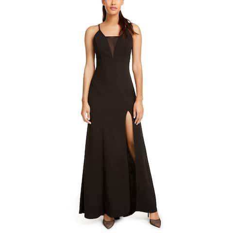 Emerald Sundae Dress Black Size Small S Junior Gown Slit Mesh-Inset