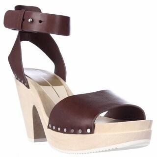 Dolce Vita Nalia Clog Ankle Strap Sandals - Burnt Henna