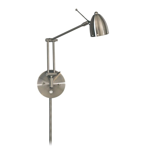 Kovacs GK P254 1-Light Plug In Wall Sconce in Brushed Nickel from the George's Reading Room Collection - Brushed nickel