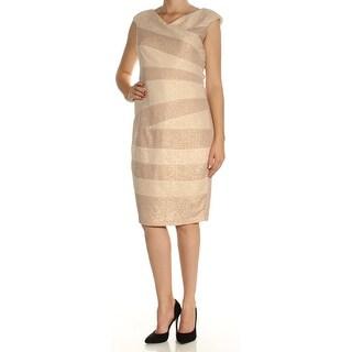 Womens Gold Striped Cap Sleeve Knee Length Sheath Dress Size: 10
