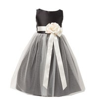 c4770c611 Sweet Kids Little Girls Black White Floral Accent Flower Girl Dress 2T-6