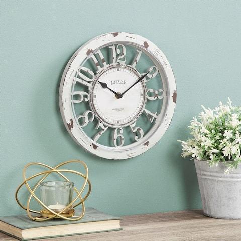 FirsTime & Co. Antique Farmhouse Contour Wall Clock, Plastic, 10 x 2 x 10 in, American Designed