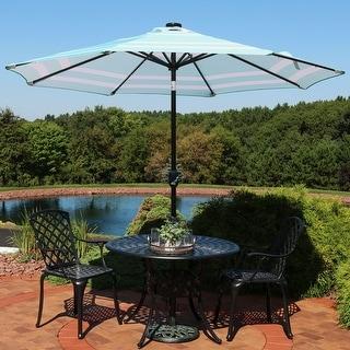 Sunnydaze 9-Foot Aluminum Solar LED Lighted Umbrella with Tilt - Teal Stripe