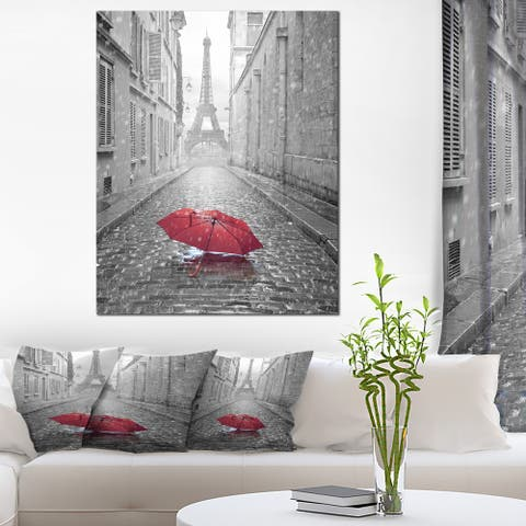 Eiffel View from Paris Street - Cityscape Photo Canvas Art Print