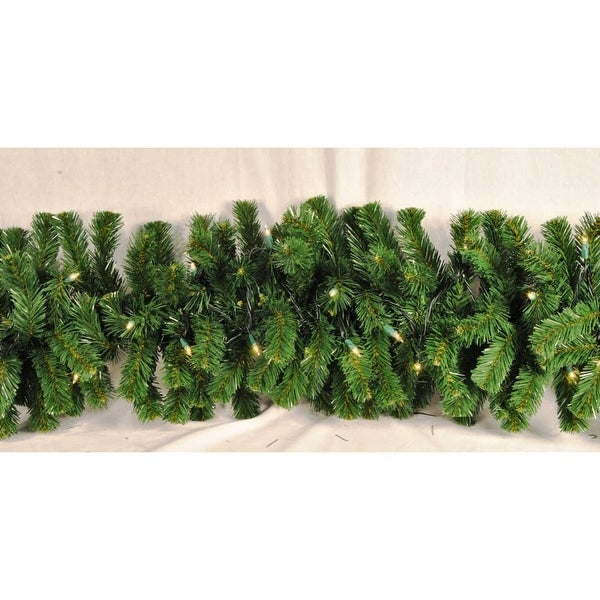 Christmas at Winterland WL-GARSQ-09-ICL 9 Foot Pre-Lit Incandescent Clear Sequoia Garland - N/A