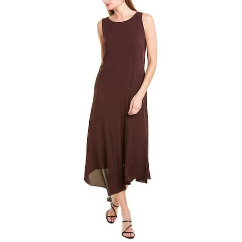 Eileen Fisher Bateau Neck Silk Maxi Dress