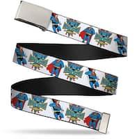 Blank Chrome  Buckle Superman Hero Power Poses White Webbing Web Belt - S