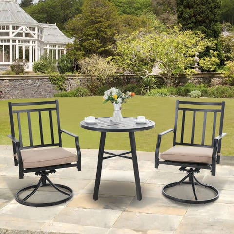 MFSTUDIO 3 Pieces Patio Dining Set with 2 Metal Swivel Chairs and 1 Mental Round Table