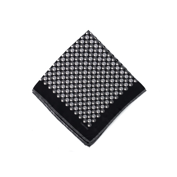 Tom Ford Grey Black Double Circle Silk Pocket Square