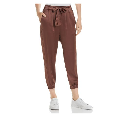 JOIE Womens Brown Belted Cropped Pants Size L