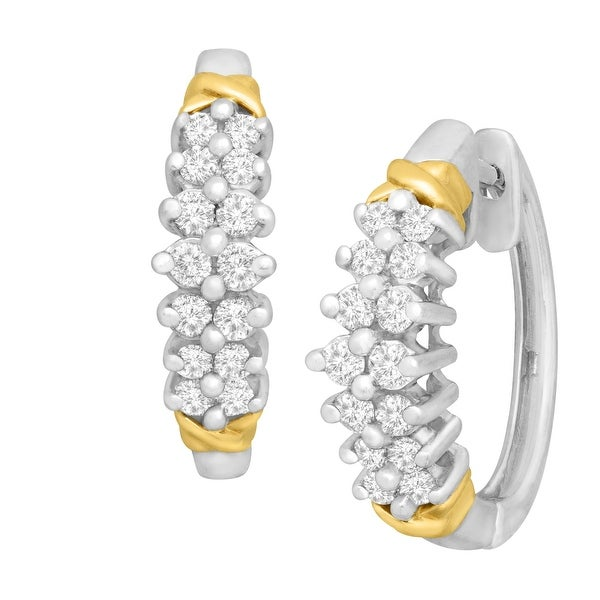 1/2 ct Diamond Chevron Hoop Earrings in 14K White & Yellow Gold