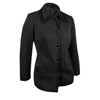 INC International Concepts Women's Buttoned Knit Jacket - Dark Heather Grey